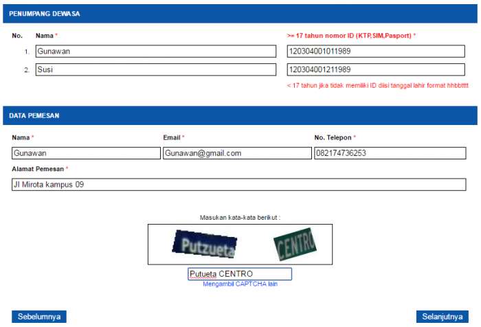 biodata pemesanan tiket kereta api